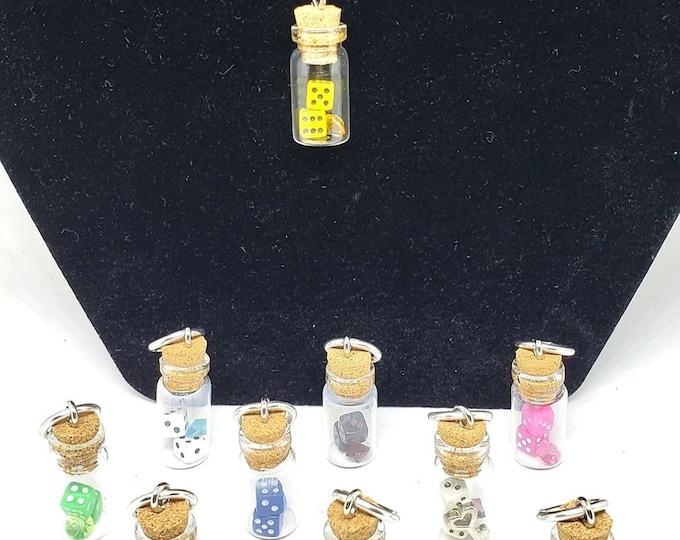 Trapped Micro Dice Jar Pendants - Mini Dice - D6 - DnD Dice - Mini Jar