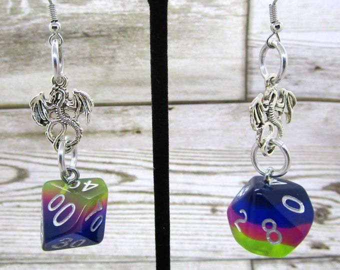 Neon Nights Dice Earrings - Dragon Charm - D10 and D% Earrings - D&D Earrings - DND Earrings - DnD Dice