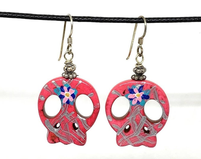 Pink with Silver One of a Kind Hand Painted Sugar Skull Earrings
