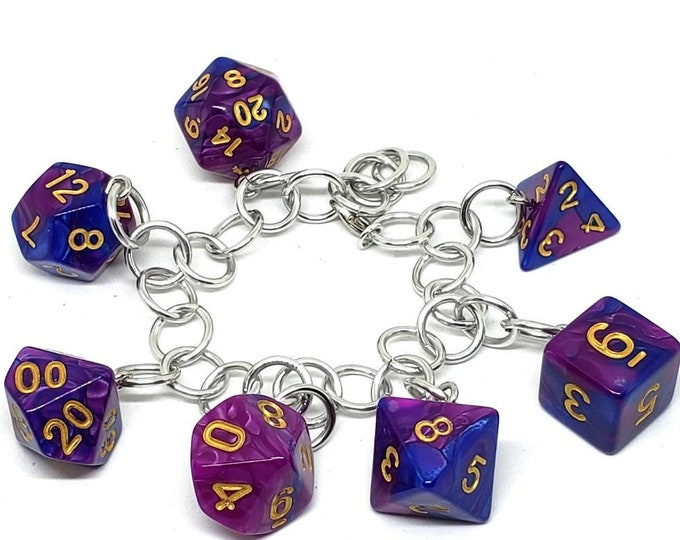 Violet and Blue Swirl Polyhedral Dice Set Charm Bracelet - Dungeons and Dragons  Dice - DnD Dice