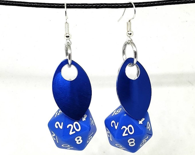 Scale of the Sapphire Dragon Nat 20 Earrings - D20 Earrings - D&D Earrings - DND Earrings - Dice Earrings