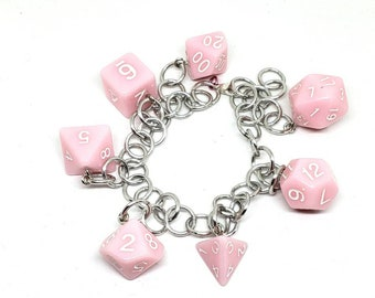 Pink Polyhedral Dice Set Charm Bracelet - Dungeons and Dragons  Dice - DnD Dice