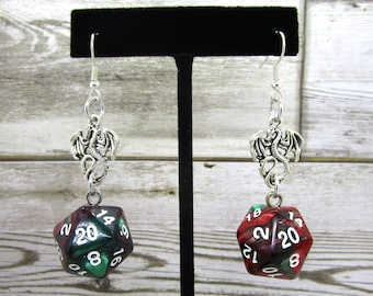 Red and Green Swirl Dragon Nat 20 Earrings - D20 Earrings - D&D Earrings - DND Earrings - Dice Earrings - Christmas Dice