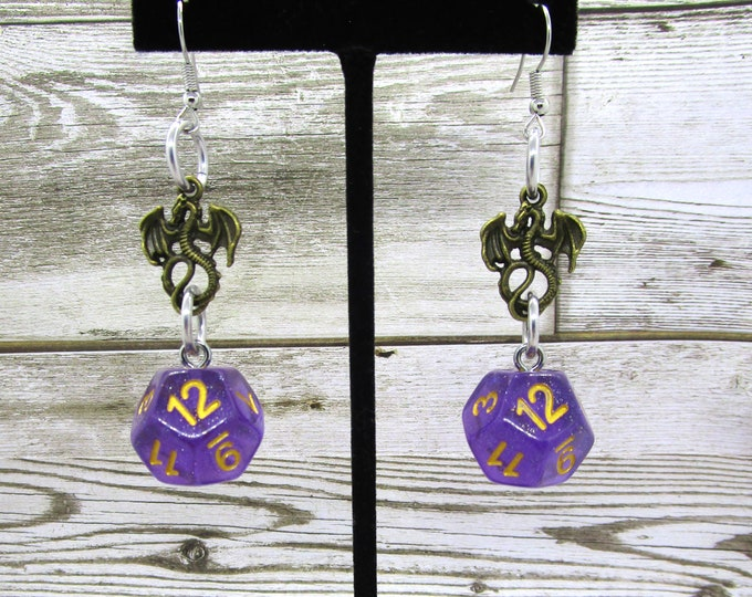 Iridescent Purple D12 Dragon - D&D Earrings - DND Earrings - DnD Dice - Dice Earrings