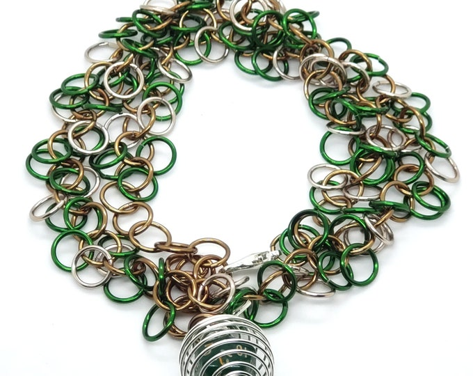Mossy Grove Shaggy Loops Chainmaille Removable Mini D20 Necklace