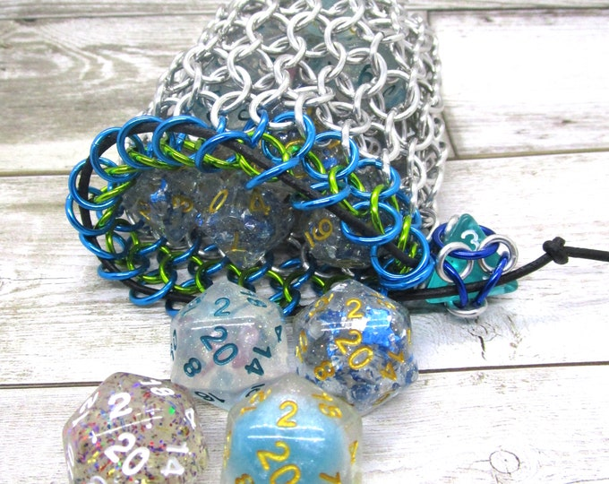 Turquoise and Slime Green Accent Medium Chainmaille Dice Bag | Dice Pouch | Coin Purse - Chainmail