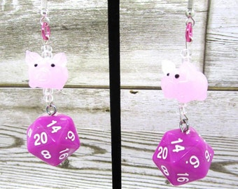 Pig Companion Nat 20 Earrings - D20 Earrings - D&D Earrings - DND Earrings - DnD Dice - Dice Earrings - Glass Charm
