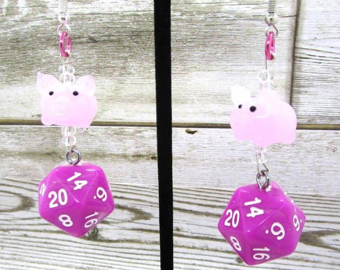 Pig Companion Nat 20 Earrings - D20 Earrings - D&D Earrings - DND Earrings - DnD Dice - Dice Earrings - Glass Charm