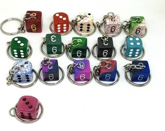 D6 Keychain or Necklace - Dungeons and Dragons Keychain - Dice - 6 Sided Dice - DnD Dice