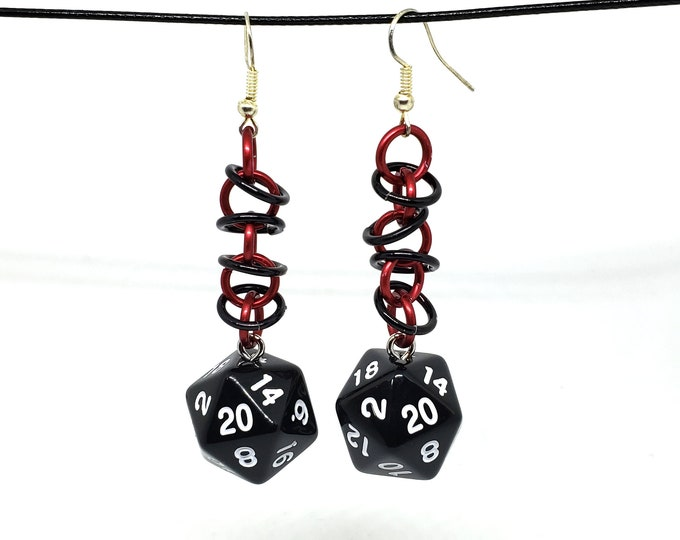 Black and Red Orbital Nat 20 Earrings - D20 Earrings - D&D Earrings - DND Earrings - Dice Earrings