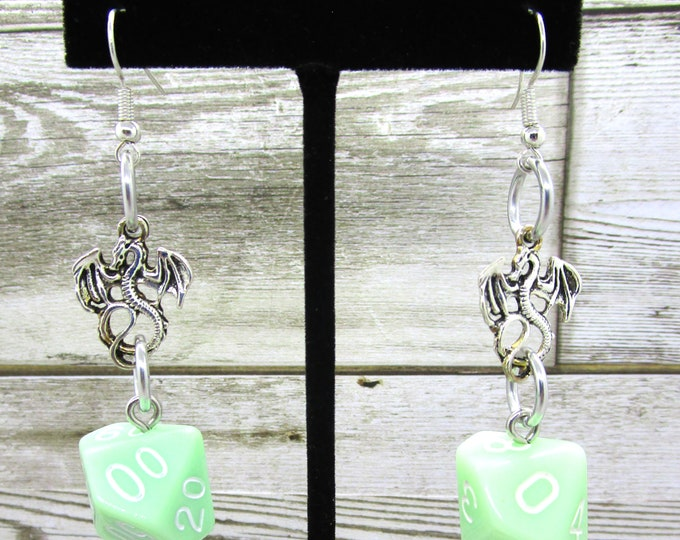 Ghost Jade Dragon Dice Earrings - D10 and D% Earrings - D&D Earrings - DND Earrings - DnD Dice