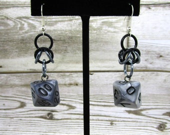 Quicksilver Box Weave Dice Earrings - D10 and D% Earrings - D&D Earrings - DND Earrings - DnD Dice
