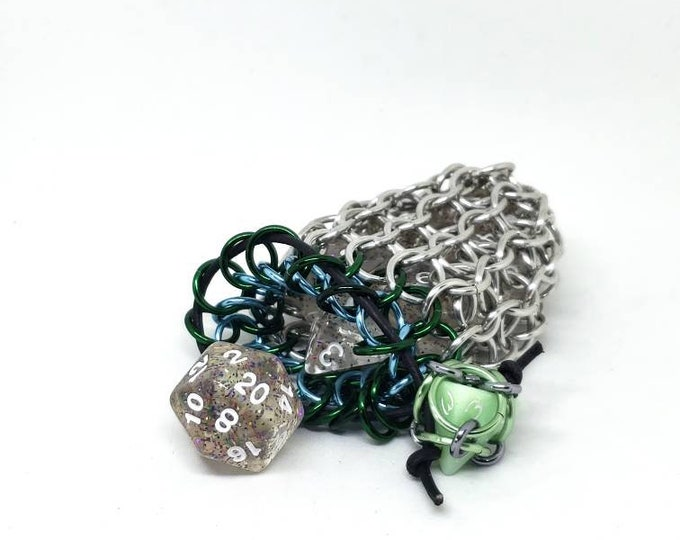 Green, Sky Blue, and Silver Single Set Chainmaille Dicebag - Holds One Set of Dice - Health and Mana - Dice -  Handmade - Chainmail