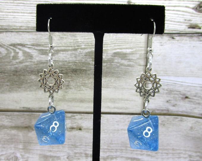 Icy Blue - Star of David Charm - Hanukkah Earrings  D8 Earrings - D&D Earrings - DND Earrings - DnD Dice
