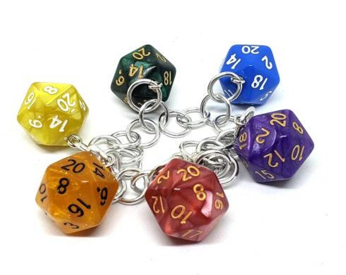 Pride Rainbow D20 Charm Bracelet - Dungeons and Dragons  Dice - DnD Dice