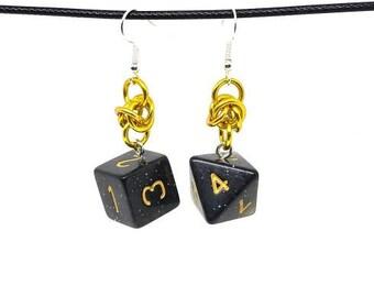 Black Glitter Dice Earrings - D6 and D8 Earrings - D&D Earrings - DND Earrings - DnD Dice