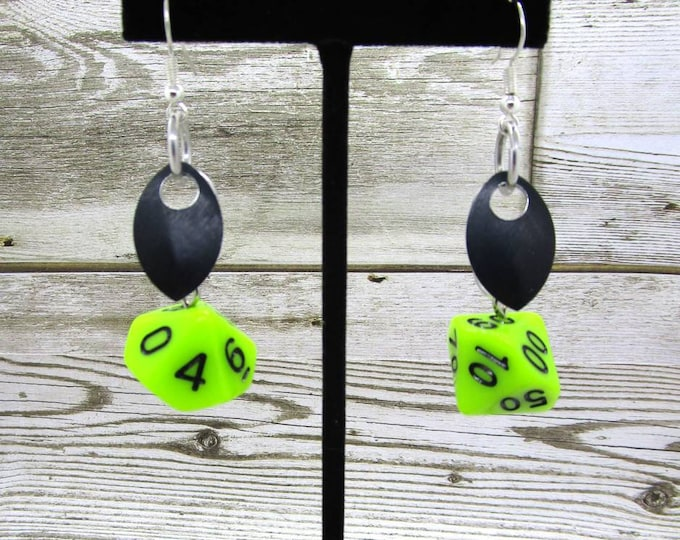 Scale of the Swamp Dragon Dice Earrings - D10 and D% Earrings - D&D Earrings - DND Earrings - DnD Dice