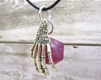 One of a Kind Magenta Mage Hand Nat 20 Pendant - Handmade Uninked D20 - Dungeons and Dragons Pendant - D&D Dice - Dice Pendant