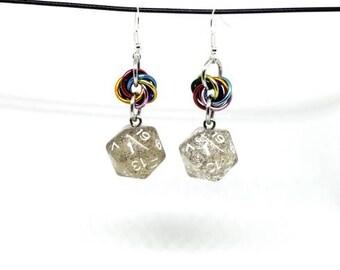 Rainbow Sparkle Nat 1 Earrings - D20 Earrings - D&D Earrings - DND Earrings - DnD Dice - Dice Earrings
