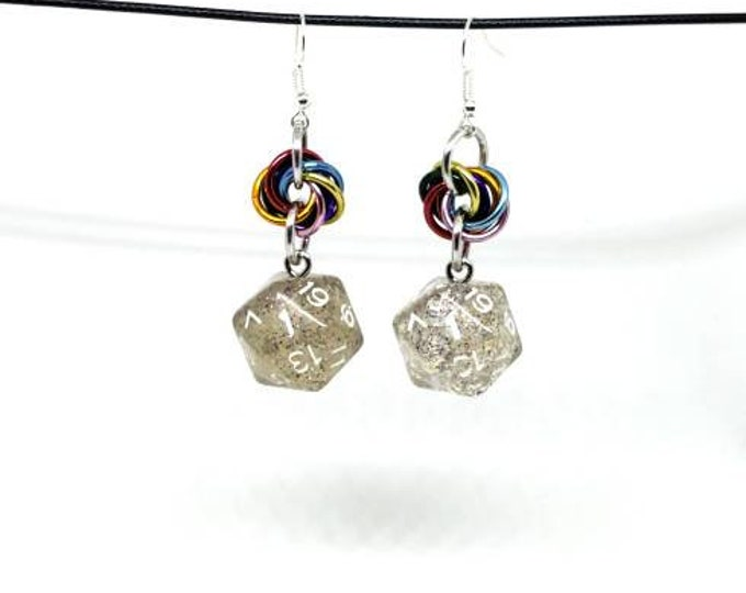 Rainbow Sparkle Nat 1 Earrings - D20 Earrings - D&D Earrings - DND Earrings - DnD Dice - Dice Earrings
