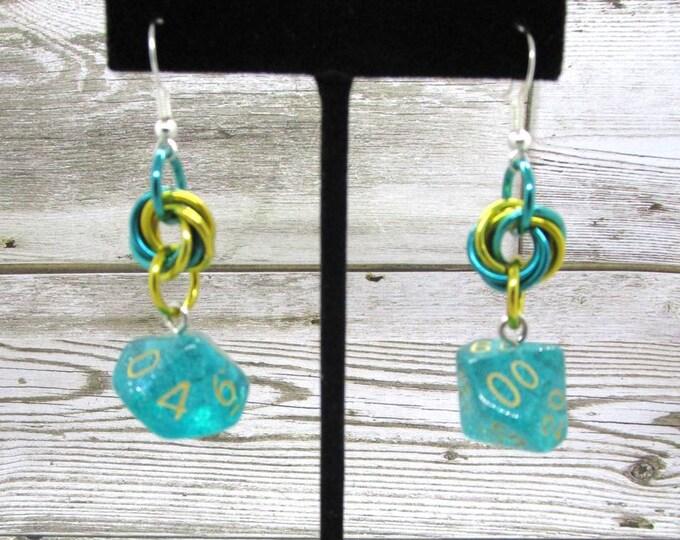 Celestial Sea Dice Earrings - D10 and D% Earrings - D&D Earrings - DND Earrings - DnD Dice