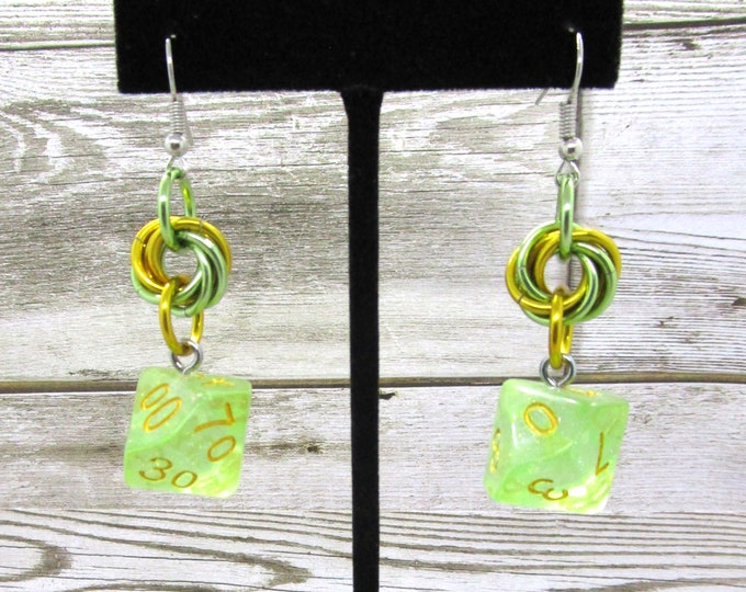 Iridescent Green Mobius Dice Earrings - D10 and D% Earrings - D&D Earrings - DND Earrings - DnD Dice