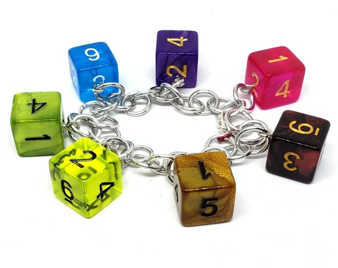 Pride Rainbow D6 Charm Bracelet - Dungeons and Dragons  Dice - DnD Dice