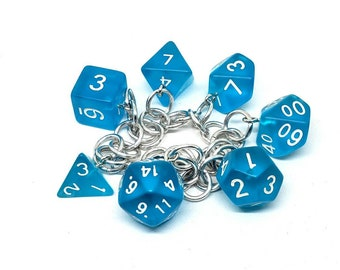 Bright Seaglass Blue Polyhedral Dice Set Charm Bracelet - Charm Necklace - Dungeons and Dragons Dice - DnD Dice