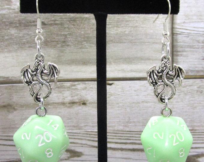 Ghost Jade Dragon Nat 20 Earrings - D20 Earrings - D&D Earrings - DND Earrings - Dice Earrings - Black  and Gold Dice