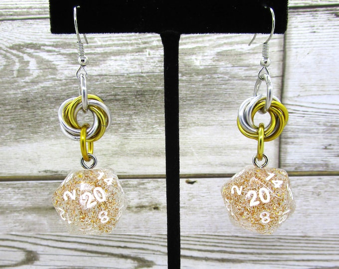 Silver and Gold Mobius Nat 20 Earrings - D20 Earrings - D&D Earrings - DND Earrings - DnD Dice - Dice Earrings - Mobius Charm