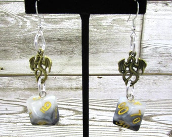Grey Layers Dragon Charm Dice Earrings - D10 and D% Earrings - D&D Earrings - DND Earrings - DnD Dice