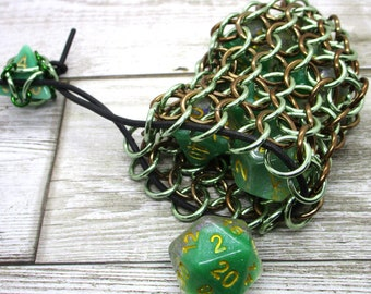 Light Green and Bronze Single Set Chainmaille Dice Bag - Dicebag -  Handmade - Chainmail