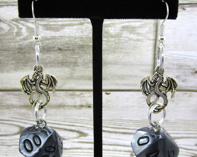 Quicksilver Dragon Charm Dice Earrings - D10 and D% Earrings - D&D Earrings - DND Earrings - DnD Dice