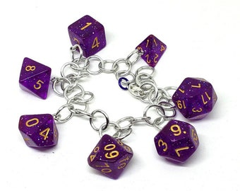 Purple Nebula Polyhedral Dice Set Charm Bracelet - Charm Necklace - Dungeons and Dragons Dice - DnD Dice