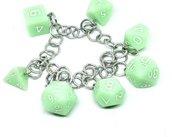 Mint Green Polyhedral Dice Set Charm Bracelet - Charm Necklace - Dungeons and Dragons Dice - DnD Dice