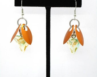 Koi Sprite D4 Earrings - D&D Earrings - DND Earrings - DnD Dice - Dice Earrings
