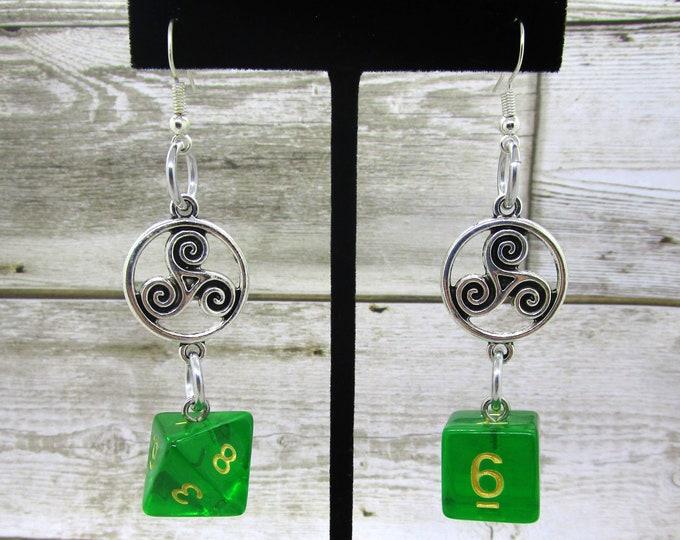 Sylvan Spirit Celtic Charm Dice Earrings - D6 and D8 Earrings - D&D Earrings - DND Earrings - DnD Dice