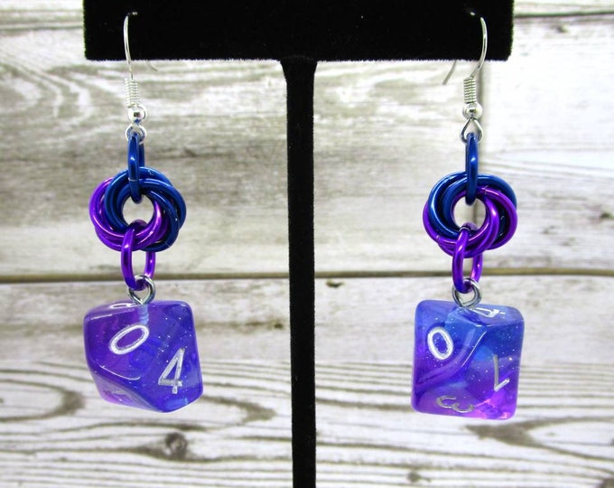 Twilight Sky Mobius Dice Earrings - D10 and D% Earrings - D&D Earrings - DND Earrings - DnD Dice
