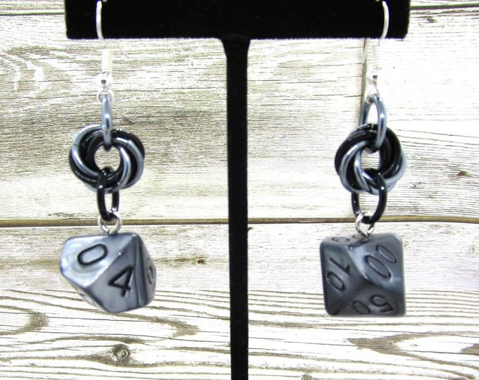 Quicksilver Mobius Dice Earrings - D10 and D% Earrings - D&D Earrings - DND Earrings - DnD Dice