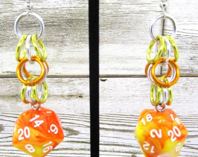 Solar  Flare Shaggy Nat 20 Earrings - D20 Earrings - D&D Earrings - DND Earrings - DnD Dice - Dice Earrings - Shaggy loops chain
