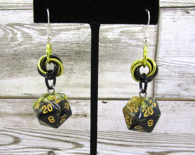 Fool's Gold Swirl Nat 20 Earrings - D20 Earrings - D&D Earrings - DND Earrings - Dice Earrings - Mobius Charm
