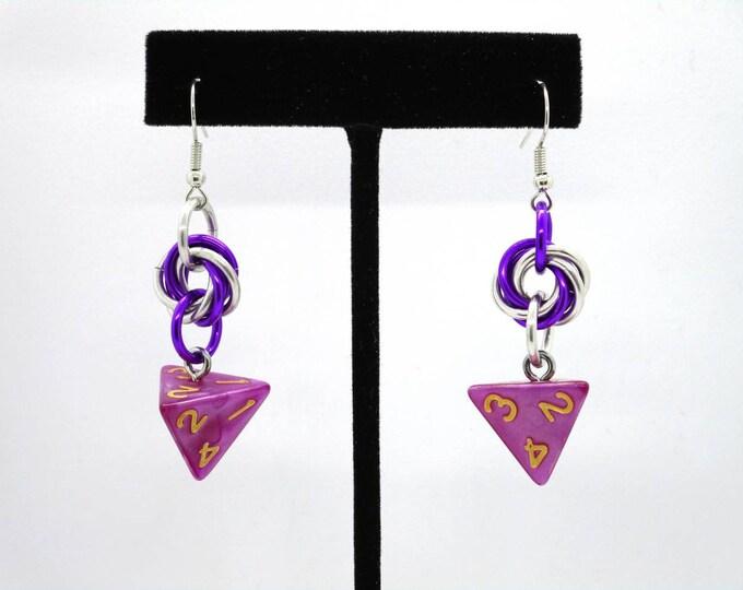 Magenta Mobius D4 Earrings - D&D Earrings - DND Earrings - DnD Dice - Dice Earrings