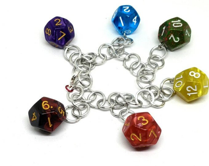 Rainbow Dice Charm Bracelet - Dungeons and Dragons - Choose a Style - Polyhedral Dice - DnD Dice
