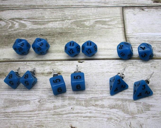 Blue Glow in the Dark Mini Dice Post Earrings - Stud Earrings - 10mm - DnD Dice