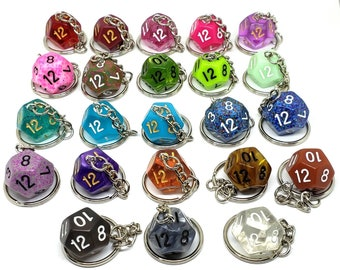 D12 Keychain or Necklace - Dungeons and Dragons Keychain - Dice - 12 Sided Dice - DnD Dice
