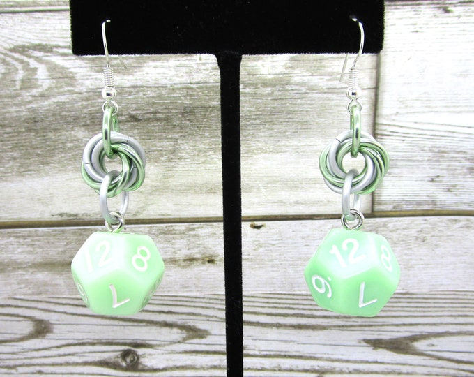Ghost Jade Mobius Earrings D12 - D&D Earrings - DND Earrings - DnD Dice - Dice Earrings