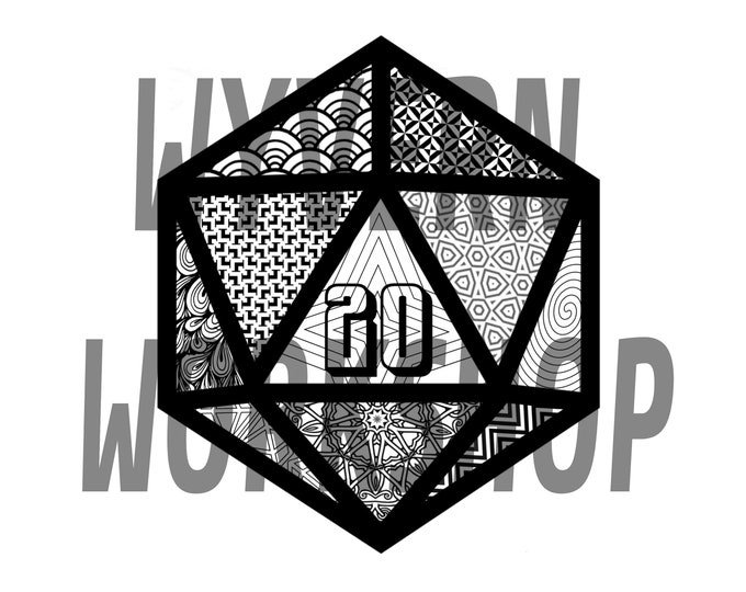 DIGITAL DOWNLOAD | Nat20 Coloring Sheet | D20 Coloring Page | 20 Sided Dice | Coloring | Patterns | Zentangle | Dungeons and Dragons