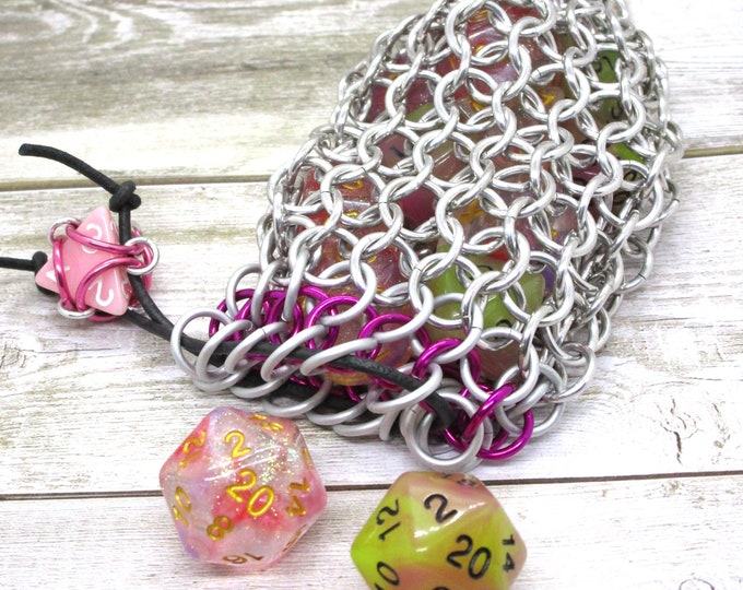 White and Dragonberry Pink Accent Silver Chainmaille Dice Bag -  Double Set Bag