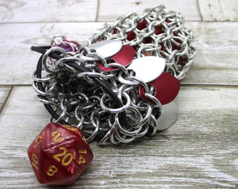 Red and Silver Scalemaille Single Set Chainmaille Dicebag - Holds One Set of Dice -  Chainmail - Dragonscales