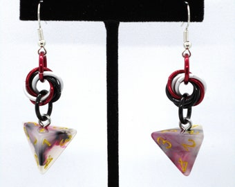 Bloodstone Mobius D4 Earrings - D&D Earrings - DND Earrings - DnD Dice - Dice Earrings